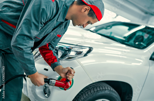 Auto mechanic buffing car autobody. Car repair and maintenance. Canvas Print