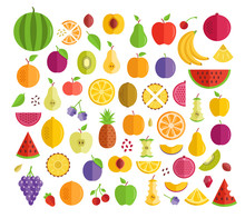 Set Of Fruits. Flat Design. Apple, Pineapple, Orange, Kiwi, Plum, Etc. Graphic Elements Collection. Vector Fruit Icons