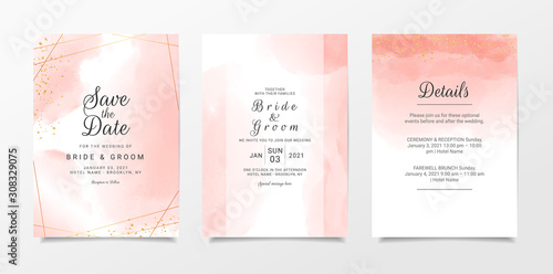 Leinwand Poster Peach watercolor wedding invitation card template set with golden line decoration