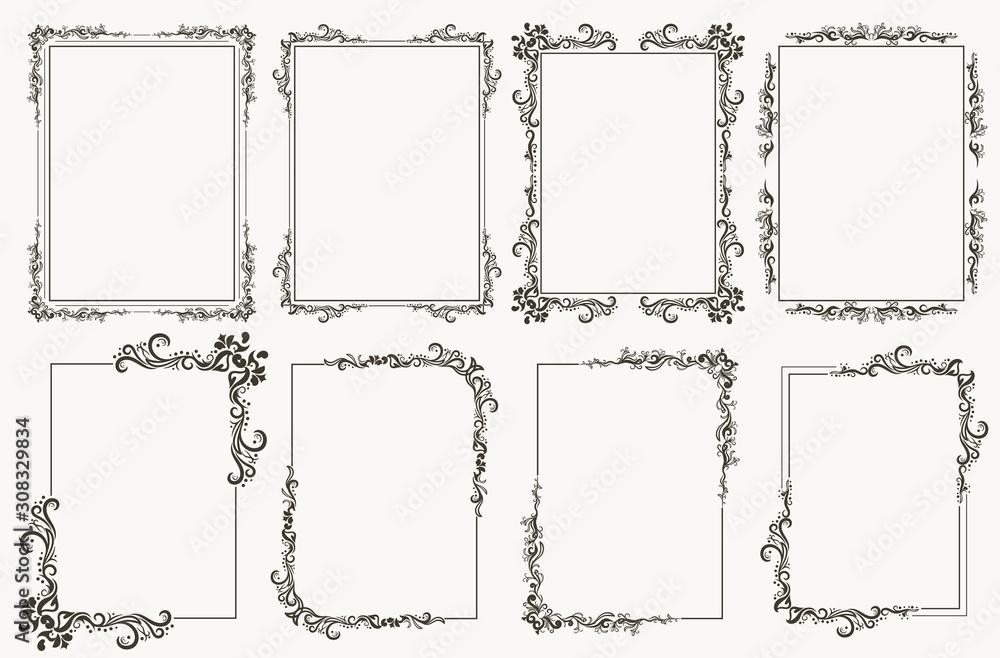 Fototapeta Calligraphic frame set. Borders corners ornate frames. Vector