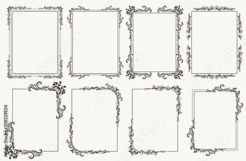 Fototapeta Calligraphic frame set. Borders corners ornate frames. Vector