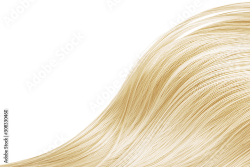 Blond hair wave on white background, isolated. Backdrop for creative. Copy space