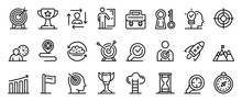 Mission Icons Set. Outline Set...