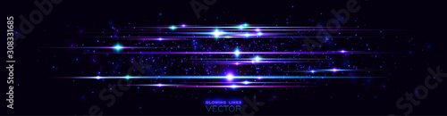 Obraz Glint cosmic rays. Power energy. Futuristic wave Flash. Magic sparks. Mystical shine streaks. Empty place. Neon wind lines. Glow effect. Beautiful light. Abstract background. Vector. EPS10 - fototapety do salonu