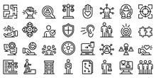 Responsibility Icons Set. Outl...