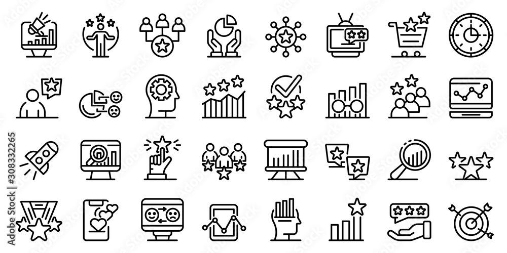 Fototapeta Reputation icons set. Outline set of reputation vector icons for web design isolated on white background