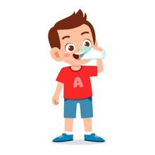 Happy Cute Kid Boy Drink Fresh...