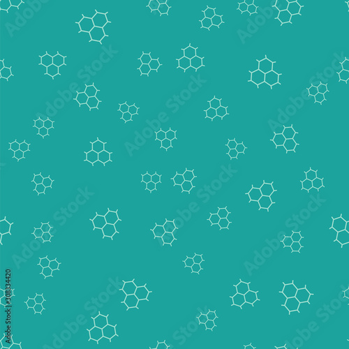 Photo Green Chemical formula consisting of benzene rings icon isolated seamless pattern on green background