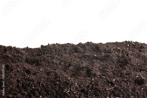 pile of soil background, earth texture isolated on a white background