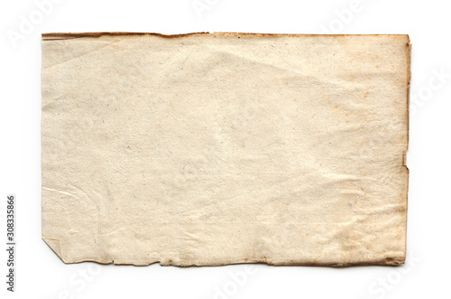 old, vintage paper background isolated on white