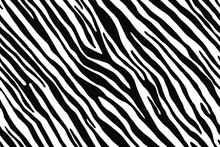 Full Seamless Zebra And Tiger Stripes Animal Skin Pattern Illustration. Black And White Vector Design For Textile Fabric Printing. Fashionable And Home Design Fit.