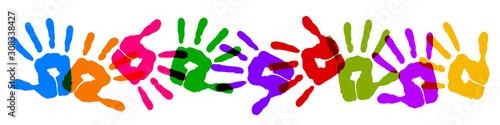 Fotografie, Obraz Set colorful print hands background – vector