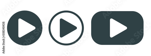 Foto Player Button set icon sign – vector
