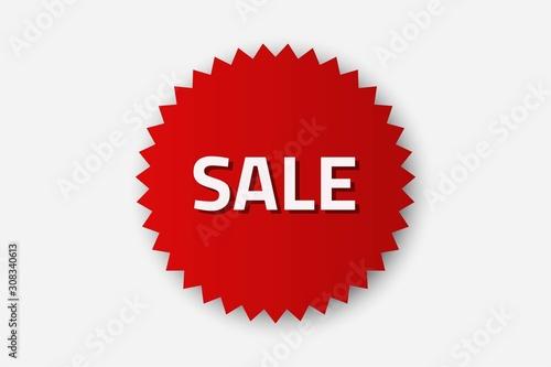 Valokuva  sale red serrated round sticker