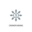 Crowdfunding concept line icon. Simple element illustration