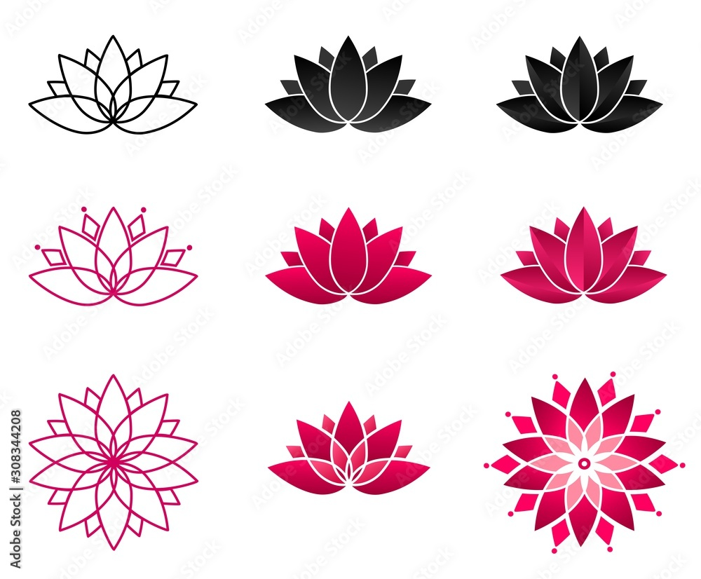 Fototapeta Collection of blooming lotus flowers for a logo. Set of stylized lotuses. Vector illustration. Yoga, wellness, spa, meditation design. Symbol of spiritual growth.