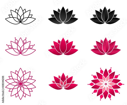 Cuadros en Lienzo Collection of blooming lotus flowers for a logo
