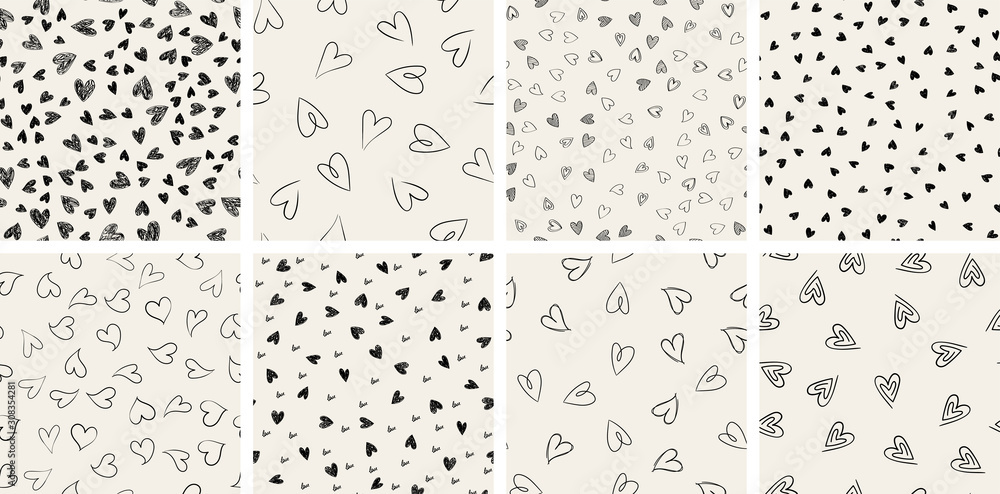Fototapeta Set of trendy hand-drawn doodle seamless pattern with hearts. Collection of valentines day backgrounds