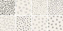 Set Of Trendy Hand-drawn Doodle Seamless Pattern With Hearts. Collection Of Valentines Day Backgrounds