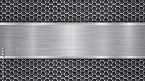 Obraz na plátne Background in gray colors, consisting of a metallic perforated surface with hole