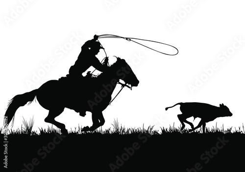 Photo A vector silhouette of a cowboy riding a horse roping a calf.