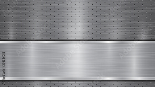 Fototapeta  Background in gray colors, consisting of a metallic perforated surface with hole