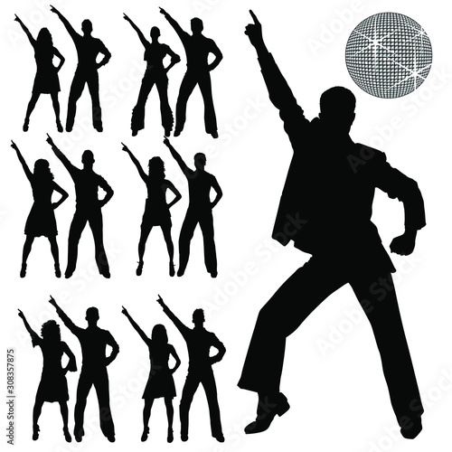 Fotomural Vector silhouettes of men and women disco dancing.