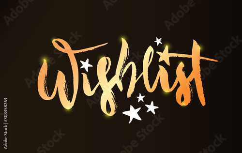 Vector illustration of Wishlist inscription with magic wand and stars. Golden brush pen lettering, modern calligraphy for Christmas and New Year shopping list, bullet journal. EPS 10
