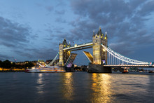 Tower Bridge Lifting At Dusk