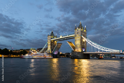 Tower Bridge lifting at Dusk Canvas Print