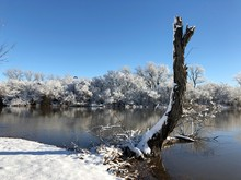 Beautiful Lakeside Scene In Winter With A Tree Stump Partially Covered In Snow
