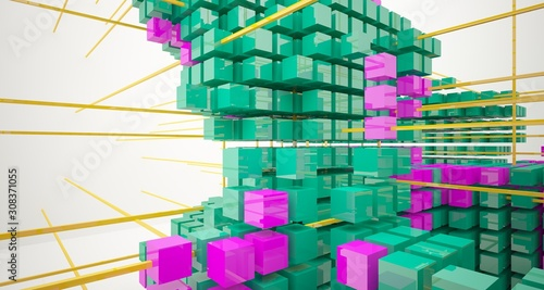 Abstract white interior from array colored cubes with window. 3D illustration and rendering. © SERGEYMANSUROV