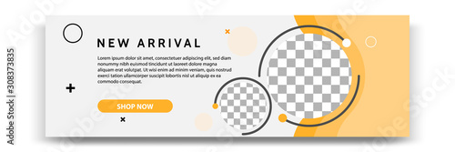 Abstract gradient modern geometric banner template design in yellow, orange, white color. Suitable for advertising and promotion in social media post, blog, web, cover, header. Vector Illustration.