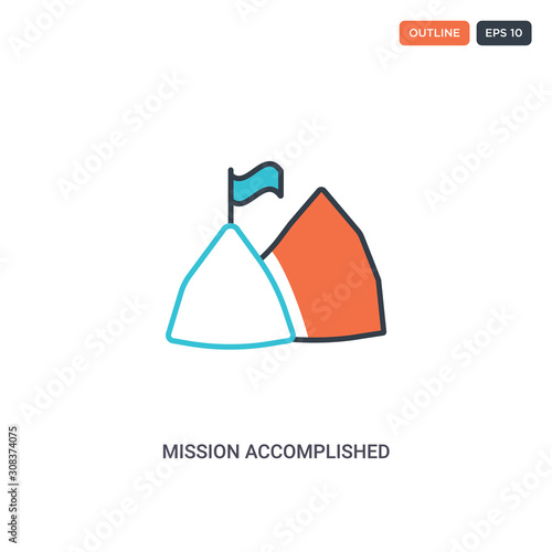 2 color mission accomplished concept line vector icon Canvas Print