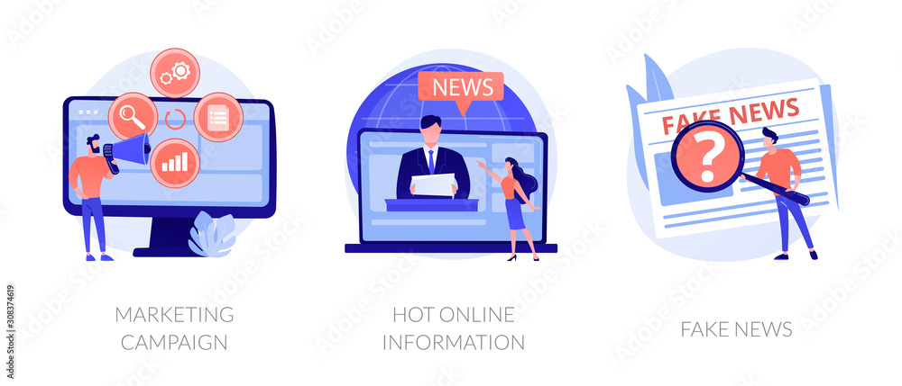 Fototapeta Press and mass media icons set. Propaganda newscast, untruth information spread. Yellow press, hot online information, fake news metaphors. Vector isolated concept metaphor illustrations.