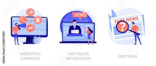 Fototapeta Press and mass media icons set. Propaganda newscast, untruth information spread. Yellow press, hot online information, fake news metaphors. Vector isolated concept metaphor illustrations. obraz