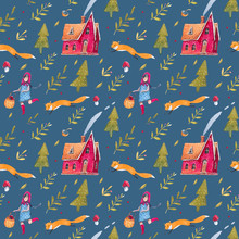 A Seamless Pattern With A Nice Fairy-tale Landscape, A House, Trees, Mushrooms.