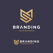 Initial MS Shield Shape Gold Monogram And Elegant Logo Design, Professional Letters Vector Icon Logo Template