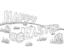Happy Easter Egg Text Letter Grass Hill Graphic Black White Landscape Background Sketch Illustration Vector