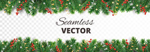 Vector Christmas Decoration. Christmas Tree Border With Holly Berries.
