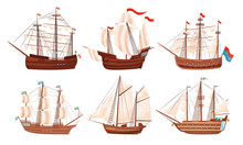 Vintage Sailing Ships Collection, Old Wooden Boats With White Sails And Flags Vector Illustration