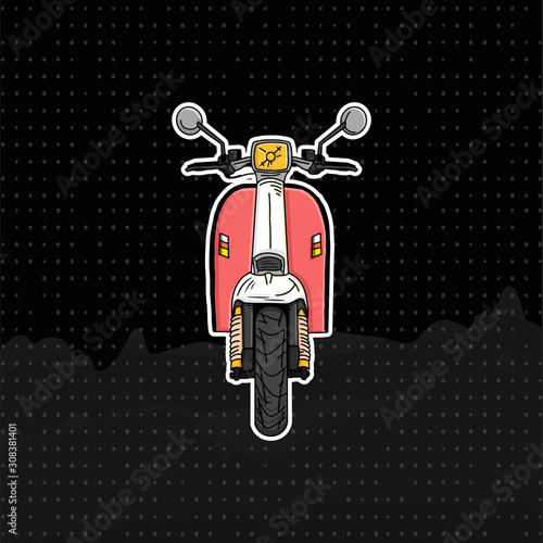 Photo Illustration Scooter motocycle from front