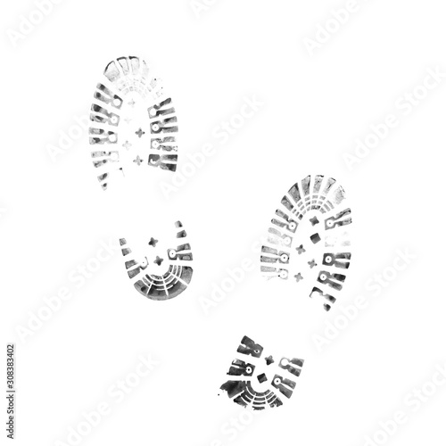 Photo  Muddy bootprints. Isolated on white background. Close up