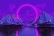 canvas print picture - neon ring in low poly mountains