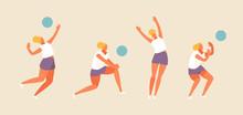 Sport Girl Plays Beach Volleyb...