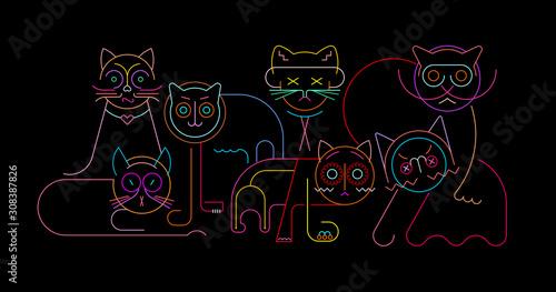 Fond de hotte en verre imprimé Art abstrait Cats