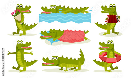 Fototapeta Cute Friendly Crocodile Cartoon Character In Different Situations Collection Vec