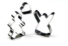 Gingerbread Cookie Cutter. Stainless Steel Molds For Baking Christmas Cookies. Butterfly Isolated On White With Copy Space