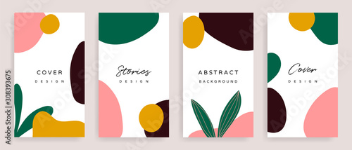 Fototapeta Social media stories and post creative Vector set. Background template with copy space for text and images design by abstract colored shapes,  line arts , Tropical leaves  warm color of the earth tone obraz