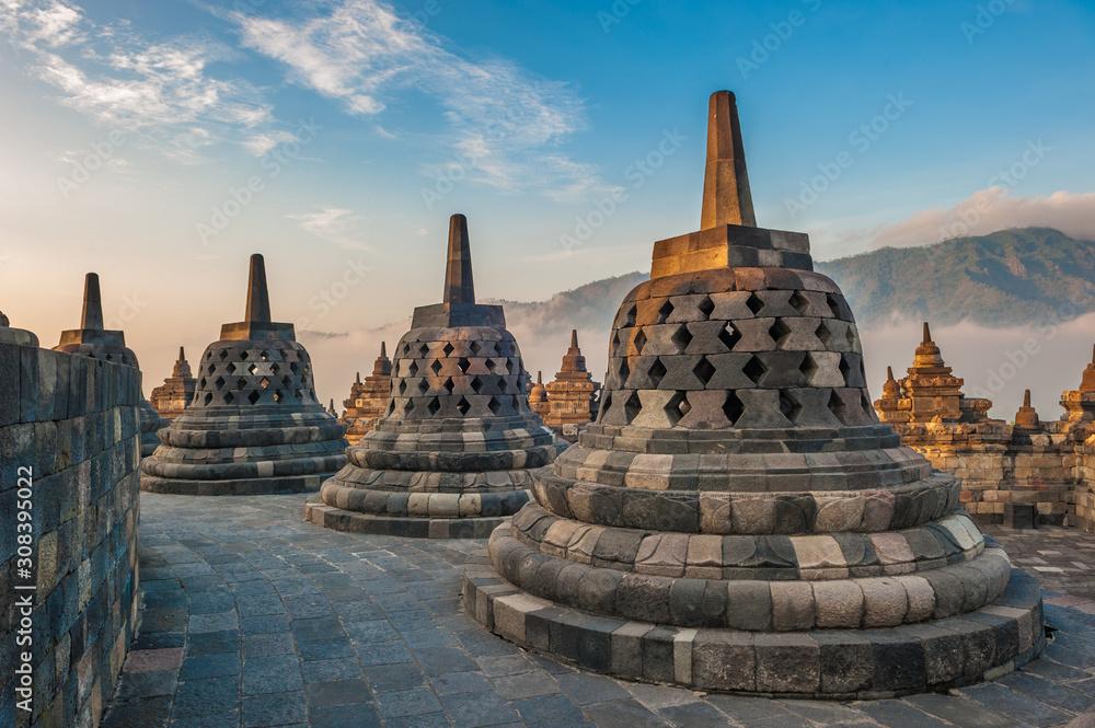 Fototapety, obrazy: Borobudur temple at sunrise, Java, Indonesia